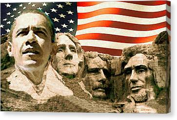 Democrats Canvas Print - Barack Obama Mount Rushmore by Art America Gallery Peter Potter