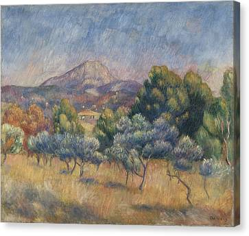 Mount Of Sainte-victoire, C.1888-89 Canvas Print by Pierre Auguste Renoir