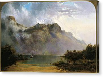 Mount Olympus. Lake St Clair. Tasmania The Source Of The Derwent Canvas Print by William Charles Piguenit