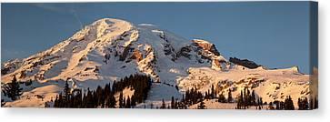 Mount Rainier Alpenglow Canvas Print by Mike Reid