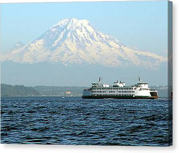 Mount Rainier And Ferry Canvas Print by John Bushnell