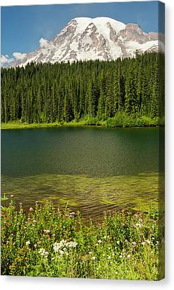 Mount Rainier And Reflection Lake Canvas Print