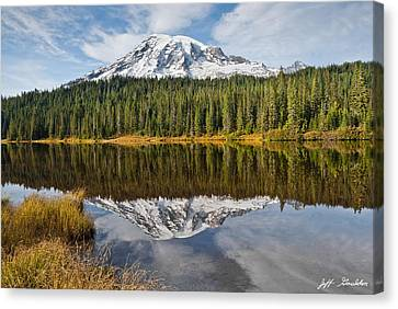 Mount Rainier And Reflection Lakes In The Fall Canvas Print