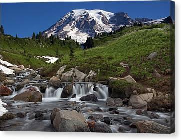Canvas Print featuring the photograph Mount Rainier At Edith Creek by Bob Noble Photography