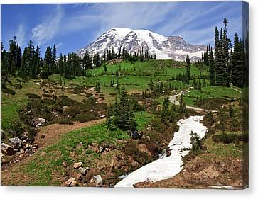 Mount Rainier At Paradise Canvas Print by Bob Noble Photography