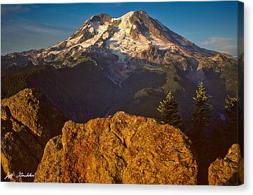 Canvas Print featuring the photograph Mount Rainier At Sunset With Big Boulders In Foreground by Jeff Goulden