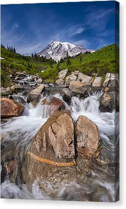 Volcano Rock Canvas Print - Mount Rainier Glacial Flow by Adam Romanowicz