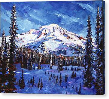 Mount Rainier Impressions Canvas Print by David Lloyd Glover