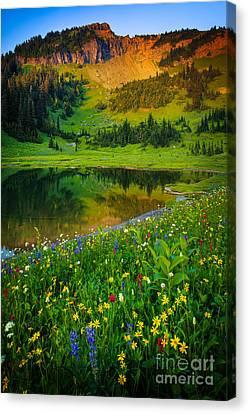 Reflecting Water Canvas Print - Mount Rainier Lake by Inge Johnsson