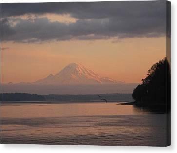 Canvas Print featuring the photograph Mount Rainier Sunset by Karen Molenaar Terrell