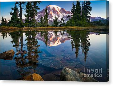 Mount Rainier Tarn Canvas Print by Inge Johnsson