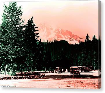 Canvas Print featuring the photograph Mount Rainier With Vintage Cars Early 1900 Era... by Eddie Eastwood