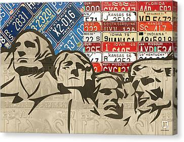 Mount Rushmore Monument Vintage Recycled License Plate Art Canvas Print by Design Turnpike