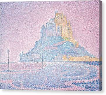 Mount Saint Michel Fog And Sun Canvas Print by Paul Signac