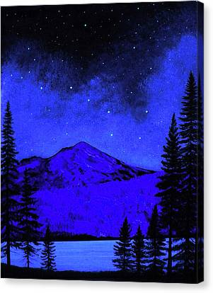 Mount Shasta In Starlight Canvas Print by Frank Wilson