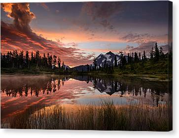 Mount Shuksan Fiery Sunrise Canvas Print by Dan Mihai
