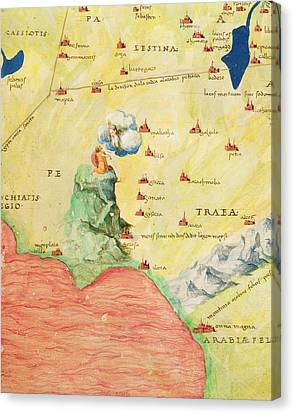 Mount Sinai And The Red Sea, From An Atlas Of The World In 33 Maps, Venice, 1st September 1553 Ink Canvas Print by Battista Agnese
