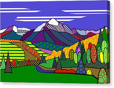 Canvas Print featuring the digital art Mount Sneffels by Randall Henrie