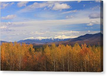 Mount Washington And Presidential Range Snow Foliage Canvas Print by John Burk