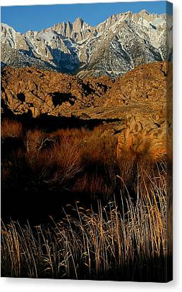 Mount Whitney From The Alabama Hills In California Canvas Print by Jetson Nguyen