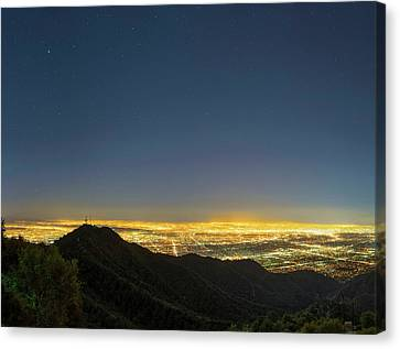 Mount Wilson And Los Angeles Canvas Print by Babak Tafreshi