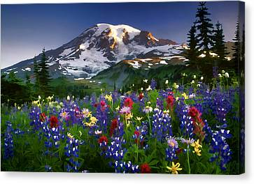 Mountain And Flowers Canvas Print by Garland Johnson