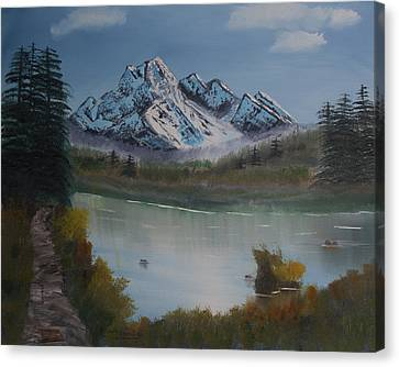 Canvas Print featuring the painting Mountain And River by Ian Donley