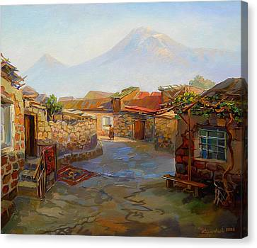 Mountain Ararat And The Old Part Of Yerevan. Canvas Print