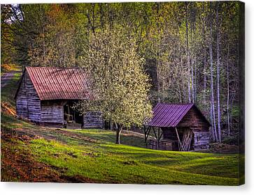 Mountain Barns In North Carolina Canvas Print by Debra and Dave Vanderlaan