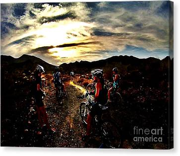 Mountain Biking Ladies Canvas Print by Scott Allison