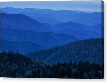Twilight Views Canvas Print - Mountain Blue by Andrew Soundarajan