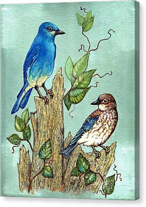Canvas Print featuring the painting Mountain Bluebirds by VLee Watson
