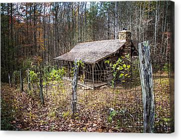 Mountain Cabin Canvas Print by Debra and Dave Vanderlaan