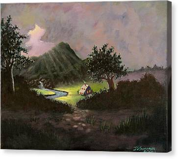 Canvas Print featuring the painting Mountain Cabin by Janet Greer Sammons