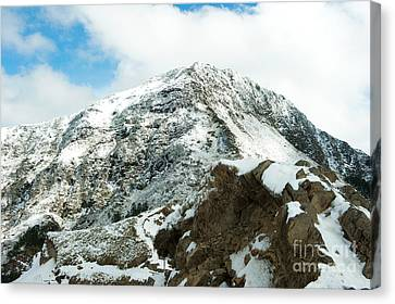 Mountain Covered With Snow Canvas Print by Yew Kwang