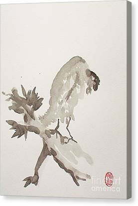 Mountain Cuckoo Eating A Worm Canvas Print by Pg Reproductions