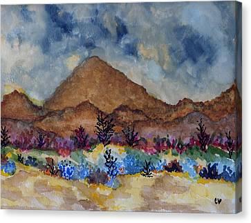 Mountain Desert Scene Canvas Print by Connie Valasco