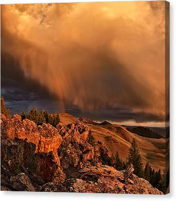 Mountain Drama Canvas Print by Leland D Howard