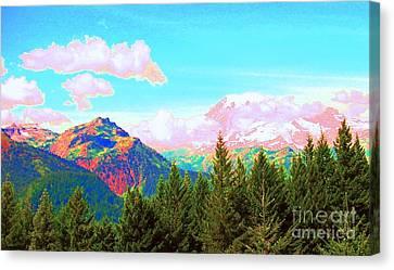 Mountain Fantasy Canvas Print by Ann Johndro-Collins
