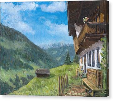 Mountain Farm In Austria Canvas Print by Marco Busoni
