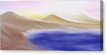 Mountain Lake - A Digital Painting Canvas Print by Gina Lee Manley