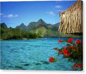 Canvas Print featuring the painting Mountain Lake by Bruce Nutting