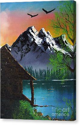 Canvas Print featuring the painting Mountain Lake Cabin W Eagles by Marianne NANA Betts