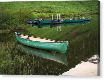 Mountain Lake Canoe Canvas Print