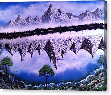 Canvas Print featuring the painting Mountain Lake by Michael Rucker