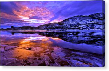 Canvas Print featuring the painting Mountain Lake Sunset by Bruce Nutting