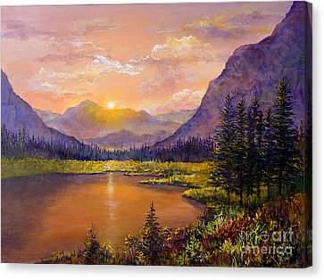 Canvas Print featuring the painting Mountain Lake Sunset by Lou Ann Bagnall