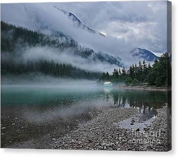 Mountain Lake With Heavy Fog Ross Lake Washington Canvas Print
