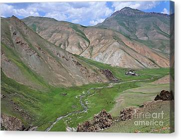Mountain Landscape In The Tash Rabat Valley Of Kyrgyzstan Canvas Print by Robert Preston