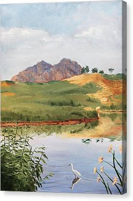 Mountain Landscape With Egret Canvas Print